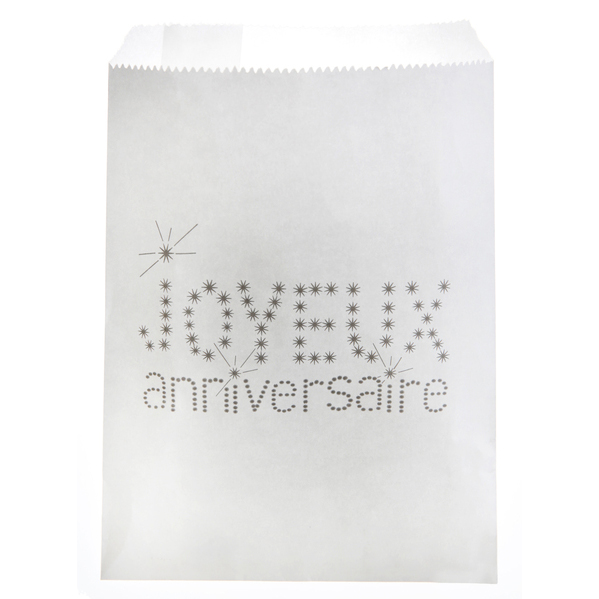 sac papier joyeux anniversaire x 24 pi ces blanc inspiration by sabel. Black Bedroom Furniture Sets. Home Design Ideas